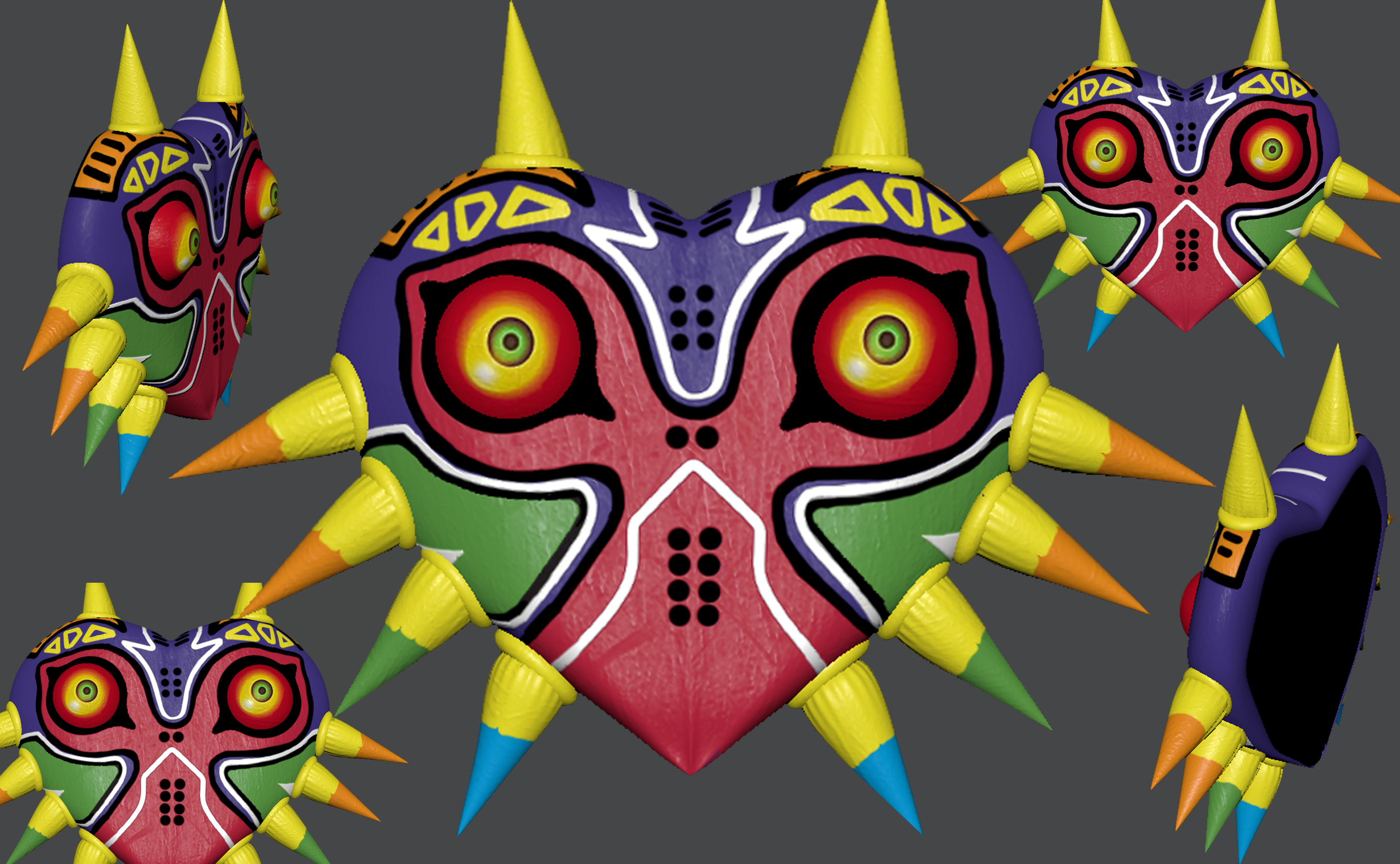 Majora's mask 3D model showing all different angles