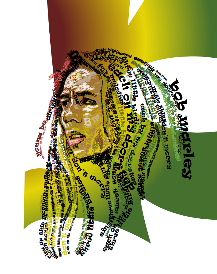 Bob marley typographic illustration